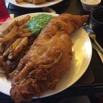 Fish and chips. Please tell me any where else you would get a fish that size