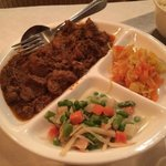 Meat Lovers menu - spicy beef, mixed vegetables, rice.