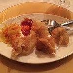 Appetizers which are described on the menu as crispy pancakes but are essentially fried won ton.