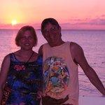 Enjoying a beautiful sunset from the beach deck.