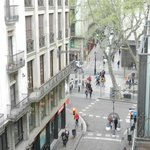 View from room down Ferran Street and across La Rambla
