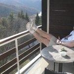 Balcony and view from Hotel Jezero