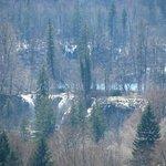 Upper lake falls - from room at Hotel Jezero using zoom on camera.