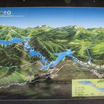Map at shuttle stop, entrance/exit, steps away from Hotel Jezero