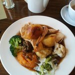 Medium roast turkey, lovely fresh vegetables