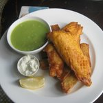 Fish and chips with split peas