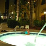 Nicely landscaped hot tub...