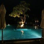 Public pool at night