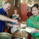 Dishing out free lunch at Thai New Year's