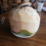 Fresh coconut water at breakfast