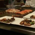 Japanese restaurant. Hibachi Salmon, shrimp & steak