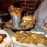 Fried pickles, bison burger, and a bucket o' fries