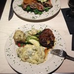 Veal cutlet and bacon wrapped steak entrees
