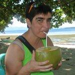 Fresh coconut drink at Bobocha Cottages Siladen