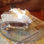 This Chocolate Cream pie was heaven on a plate! I had the peach pie, which was good, but persona