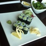 April 13, 2014: Sunday Brunch at Sushi Taro! Avocado and Asparagus Rolls served with style!