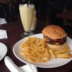 Double cheese and Bacon burger and chips :)