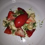 strawberry with licquorice custard, white chocolate and cress