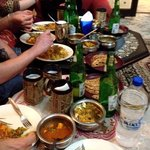 Enjoying our delicious homemade Indian dinner made by Rasheev's wife with the other guests