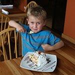 Jackson with dessert