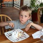 Jasper with peach cake