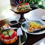 fruit salad and banana pancake