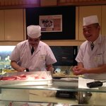The friendly sushi chefs whipping up a great meal