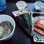 Cucumber salad, prawn & wasabi temaki and salmon sashimi