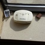 smoke detector on windowsill-battery removed