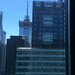 H&M building directly across from the master bedroom on 43rd floor. Window is dirty.
