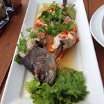 Steamed fish from sienna rocks