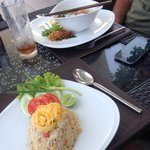 Fried rice and Chinese noodle soup fr poolside restaurant