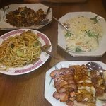 Black Bean Beef, Udon Noodles, Special Fried Rice and Mixed Char Sui Pork