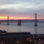Sunset view of Bay Bridge from our room