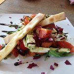 Tricolore salad with homemade crostini
