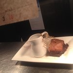 Chocolate brownie with thick jersey cream