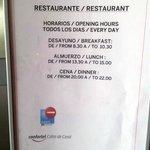 Horario del restaurante.