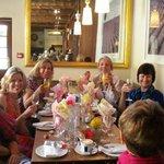 Happy group enjoying brunch at La Belle Cafe
