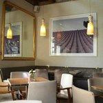 Imposing lavender prints at La Belle Cafe