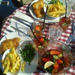 cod and chips washed down with pimms