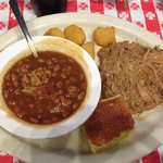 Pulled pork platter with hillbilly baked beans and corn fritters