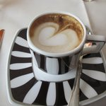 Our cappuccinos  with the heart swirl!