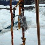 crampons and walking poles