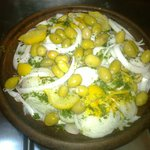 Chicken tagine with preserved lemon and olives before cooking