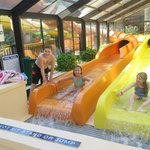 Two great slides in heated pool area