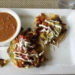 Hamakua Mushroom Tacos and Fresh Pinto Beans.