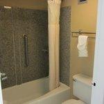 Dark shower & toilet area
