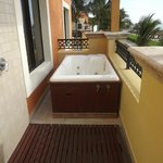 Outdoor shower & jacuzzi tub on our balcony