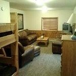 This is the view of the lower level living/bunk room