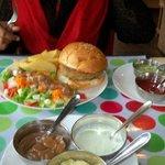 Fish Burger & Fries with salad